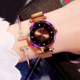 Luksusowe złota róża kobiety zegarki moda diament panie gwiaździste niebo magnes zegarek wodoodporny kobiet zegarek na zegar na