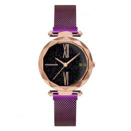 Luksusowe złota róża kobiety zegarki minimalizm gwiaździste niebo magnes klamra moda na co dzień kobiet zegarek wodoodporny cyfr