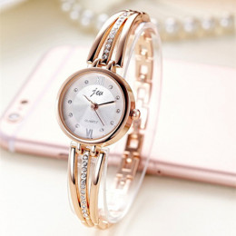 Nowa moda Rhinestone zegarki kobiety luksusowa marka ze stali nierdzewnej bransoletki z zegarkiem kwarcowe panie sukienka zegark
