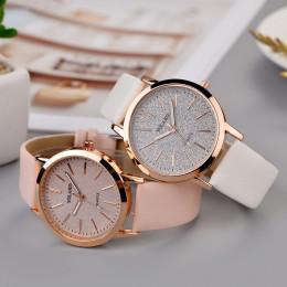 Top marka wysokiej jakości mody kobiet panie proste zegarki genewa Faux skórzany analogowy zegarek kwarcowy zegar saat prezent