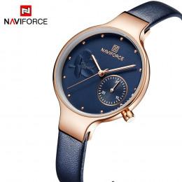 NAVIFORCE kobiety moda niebieski zegarek kwarcowy pani skórzany pasek do zegarków wysokiej jakości na co dzień zegarek wodoodpor