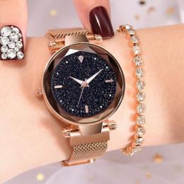 Luksusowy zegarek damski na ozdobnej bransoletce złoty modny kwarcowy czerwony niebieski czarny złoty fioletowy