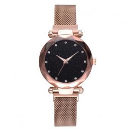 Top marka zegarki dla kobiet złota róża siatki magnes klamra gwiaździste zegarek kwarcowy geometryczne powierzchni na co dzień k