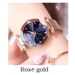 Luksusowy zegarek dla pań magnes siatki ze stali nierdzewnej z gwiaździste moda diament kobiet luminous świecące kwarcowy zegare