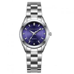 CHRONOS kobiety luksusowe Rhinestone zegarki kwarcowe ze stali nierdzewnej panie zegarek biznesu japoński mechanizm kwarcowy Rel