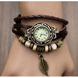 Multicolor wysokiej jakości kobiety prawdziwej skóry w stylu Vintage kwarcowy sukienka bransoletka do zegarka na rękę liść preze