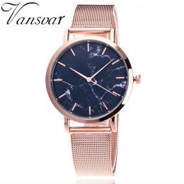 Vansvar marka moda srebrny i złoty opaska siatkowa kreatywny marmuru zegarek na rękę na co dzień kobiety zegarki kwarcowe na pre