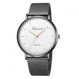 Moda na co dzień zegarki kobiety mężczyźni genewa kobiet klasyczny zegarek kwarcowy nadgarstek ze stali nierdzewnej zegarek bran