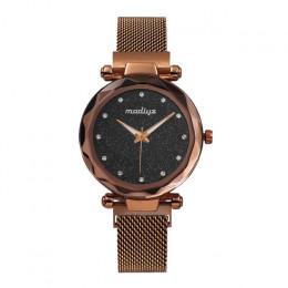 Luksusowe róża diamentowa złoty kobiety zegarki moda panie gwiaździste niebo magnetyczne zegarek na co dzień siatka stalowa Rhin