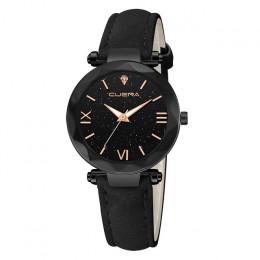 Modny zegarek damski luksusowy elegancki skórzany pasek kwarcowy analogowy diamentowy