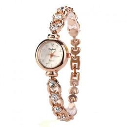 Panie eleganckie zegarki na rękę kobiety bransoletka dżetów zegarek analogowy zegarek kwarcowy kobiety kryształ mały Dial zegare