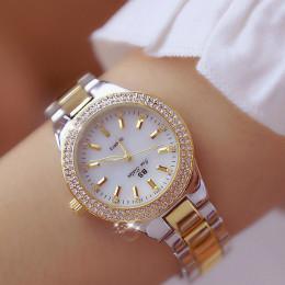 2019 panie zegarki na rękę sukienka złoty zegarek kobiety kryształ zegarki diamentowe ze stali nierdzewnej srebrny zegar kobiety