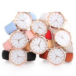 Kobieta moda na co dzień ze stopu skórzany pasek okrągły analogowy zegarek na rękę zegarki kwarcowe kobiety zegar reloj mujer el