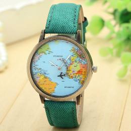 Gorąca sprzedaż Mini zegarek kwarcowy mężczyźni Unisex mapa świata mody samolot podróży dookoła świata kobiety skórzana sukienka