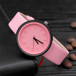 Cukierki kolor Unisex proste numer zegarki kobiety japoński moda luksusowy zegarek kwarcowy pasek zegarek na rękę dziewczyny pre