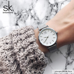 SK Super Slim Sliver siatki zegarki ze stali nierdzewnej kobiety Top marka luksusowe zegar panie zegarek na rękę pani Relogio Fe