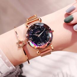 Luksusowe kobiety zegarki moda elegancki magnes klamra Vibrato fioletowy panie zegarek na rękę 2019 nowe gwiaździste niebo cyfra