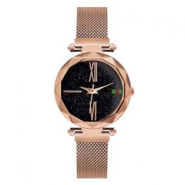 Luksusowe złota róża kobiety zegarki minimalizm gwiaździste niebo magnetyczne moda na co dzień kobiet zegarek wodoodporny cyfram