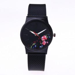 Modny czarny zegarek damski pleciona klasyczna silikonowa bransoleta kwarcowy elegancka tarcza z kwiatami