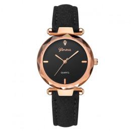 Genewa 2019 luksusowy zegarek kobiety sukienka bransoletka zegarek moda damska skórzany pasek analogowy zegarek kwarcowy diament