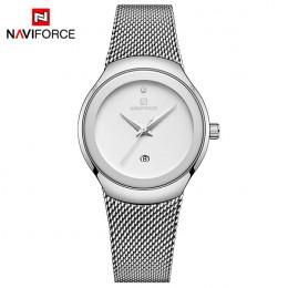 Kobiety zegarki NAVIFORCE Top luksusowa marka moda damska na co dzień proste stali nierdzewnej siateczkowy pasek zegarek prezent