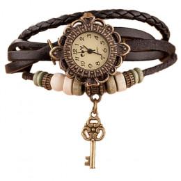 Moda skórzana bransoletka zegarka kobiety na co dzień sukienka w stylu Vintage liść koraliki zegarek luksusowy zegarek kwarcowy