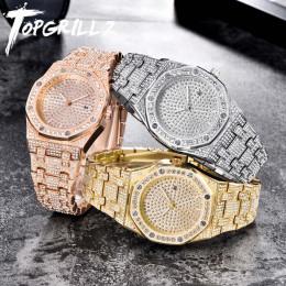 TOPGRILLZ luksusowa marka ICED OUT zegarek kwarcowy złota HIP HOP zegarki na rękę z Micropave CZ opaska ze stali nierdzewnej