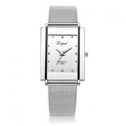 Marka srebro panie zegarek na rękę zegarek luksusowe prostokąt Casual zegarki kobiety sukienka na co dzień zegarek pani zegarek