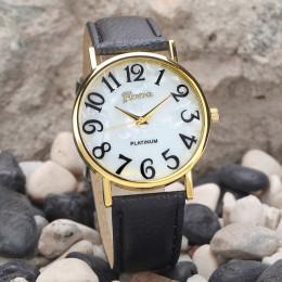 Duża liczba kobiety Retro cyfrowy Dial skórzany pasek kwarcowy analogowy zegarek na rękę czarny biały zegarki eleganckie panie s