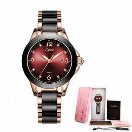 Zegarek damski elegancki luksusowy modny markowy ceramiczny kwarcowy dla kobiety