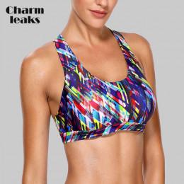 Charmleaks damskie średniej wpływ biustonosz sportowy wyściełane wsparcie biustonosz do jogi oddychające do biegania bez rękawów