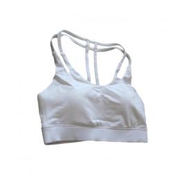 Kobiety Sport biustonosze podwójne Bandeau kamizelka fitness siłownia bielizna wyściełane T-powrót biustonosze Top do biegania j
