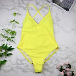 2019 kobiety stroje kąpielowe Sexy wysokiej cięcia strój kąpielowy jednoczęściowy kostium kąpielowy bez pleców czarny biały czer