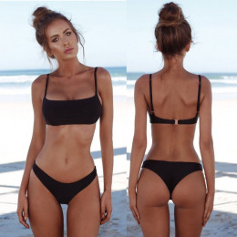 2018 nowy lato kobiety solidna Bikini Set push-up Unpadded biustonosz strój kąpielowy strój kąpielowy trójkąt kąpiel garnitur st