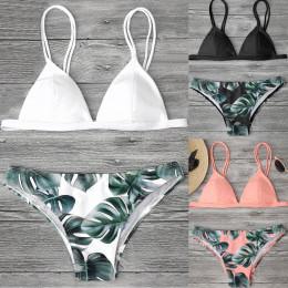 Kobiet strój kąpielowy Sexy Bikini strój kąpielowy kobiety stroje kąpielowe Bikini Set Print liście push-up usztywniany strój ką