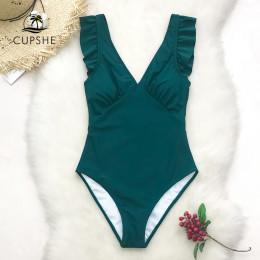 CUPSHE zielony Teal tłoczenie stałe jednoczęściowy strój kąpielowy kobiety wzburzyć Ruched Monokini 2019 dziewczyna plaża kostiu
