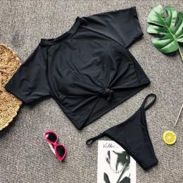 Dwuczęściowy komplet kąpielowy sportowy młodzieżowy damski wygodny oryginalny czarny biały neonowy we wzory