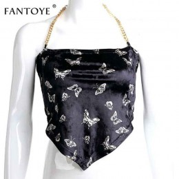 Fantoye Sexy Backless aksamitna kobiet topy motyl drukuj Halter metalowy łańcuch asymetryczna Crop Top Hot Streetwear czarny Tan