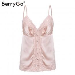 BerryGo Sexy koronki białe satynowe camis lato kamizelka Spaghetti pasek różowy tank tops kobiety eleganckie guziki streetwear k