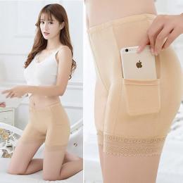 Sexy kobiet szorty ochronne spodnie Plus rozmiar bielizna pod z kieszeniami koronkowa spódnica szorty ochronne spodnie uda majtk
