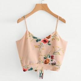 KANCOOLD topy koszulka wysokiej jakości z wiązaniem na plecach dekolt kwiatowy Print Crop Cami Camisole T-Shirt letnie topy dla