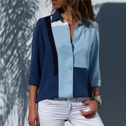 Kobiety bluzki 2019 moda z długim rękawem skręcić w dół kołnierz biuro koszula/bluzka szyfonowa koszula Casual topy Plus rozmiar
