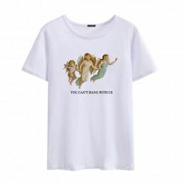 Nie możesz siedzieć z nami trzy anioły lato moda damska duży rozmiar luźne Harajuku dorywczo zabawa Shirt Cartoon list drukuj to
