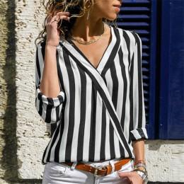 Koszulowa bluzka z długim rękawem z głębokim dekoltem w pionowe pasy czarno biała bordowa granatowa modna