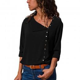 Szyfonowa bluzka 2018 moda z długim rękawem kobiet bluzki i topy pochylać kołnierz jednolity koszula biurowa Casual bluzki Blusa