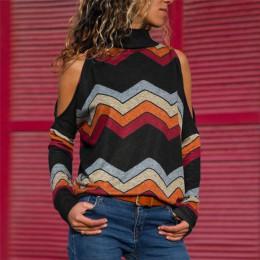 Kobiety bluzki Sexy zimno ramię bluzki Casual dzianiny z golfem Top Jumper Pullover druku koszulka z długim rękawem Blusas Camis