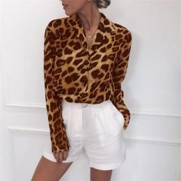 Szyfonowa bluzka z długim rękawem Sexy Leopard Print bluzka Turn Down Collar Lady koszula biurowa tunika Casual Loose Tops Plus