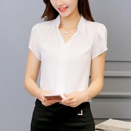 2019 lato kobiety szyfonowa bluzka z krótkim rękawem czerwony panie panie biurowe koszule Plus rozmiar pracy Top Plus rozmiar ca