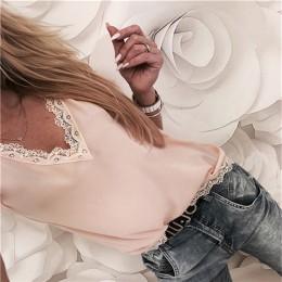 Bluzka top na lato luźny z krótkim rękawem koronkowy dekolt w serek szyfonowa koszula damska