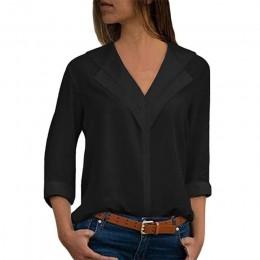 Szyfonowa bluzka damska z długim rękawem elegancka z dekoltem w serek luźna zwiewna